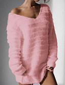 cheap Women's Sweaters-Women's Daily Oversize Solid Colored Long Sleeve Plus Size Regular Pullover Black / Pink / Gray XXXL / 4XL / XXXXXL