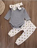 billige Sett med babyklær-Baby Jente Fritid / Aktiv Fest / Ut på byen Trykt mønster Trykt mønster Langermet Normal Normal Bomull Tøysett Grå