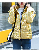 cheap Women's Down & Parkas-Women's Daily Basic Solid Colored Regular Down, Cotton Long Sleeve Hooded Gold / Silver M / L / XL