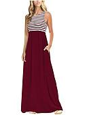 baratos Vestidos Estampados-Mulheres Básico Algodão Calças - Listrado Estampado Cintura Alta Azul / Longo