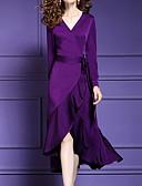 tanie Sukienki w rozmiarach plus-Damskie Puszysta Szczupła Spodnie - Solidne kolory Patchwork Fioletowy / W serek / Asymetryczna / Wyjściowe
