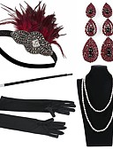 cheap Women's Scarves-The Great Gatsby Vintage 1920s Costume Women's Flapper Headband Headwear Pearl Necklace Black / Red / black Vintage Cosplay Feather Sleeveless
