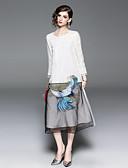 tanie Suknie i sukienki damskie-Damskie Vintage / Wzornictwo chińskie Swing Sukienka - Zwierzę, Haft Midi Flamingi