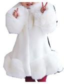 お買い得  タキシード-子供 女の子 ベーシック ソリッド 長袖 フェイクファー スーツ&ブレザー ブラック