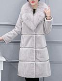 cheap Women's Fur & Faux Fur Coats-Women's Work / Party / Cocktail Street chic / Sophisticated Winter Plus Size Long Fur Coat, Solid Colored / Striped Rolled collar Long Sleeve Faux Fur / Spandex Black / Red / Gray XXL / XXXL / XXXXL