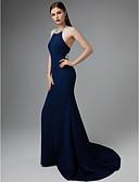 billige Todelte kjoler-Havfrue Grime Svøpeslep Jersey Vakker rygg Formell kveld Kjole med Perlearbeid av TS Couture®