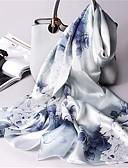 رخيصةأون أوشحة نسائية-حرير شريطة / شال نسائي مناسب للبس اليومي أزرق / زهري / اللوز