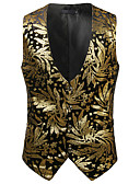 cheap Men's Blazers & Suits-Men's Work / Birthday Business / Vintage Spring & Summer / Fall & Winter Regular Vest, Print V Neck Sleeveless Cotton / Spandex Print Gold / Silver L / XL / XXL / Business Casual