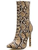 זול שמלות במידות גדולות-בגדי ריקוד נשים Fashion Boots סינטטיים סתיו חורף בריטי מגפיים עקב סטילטו מגפיים באורך אמצע - חצי שוק חום / מסיבה וערב / נמר