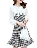 זול תחרה רומטנית-מעל הברך משובץ דמקה - שמלה גזרת A בסיסי בגדי ריקוד נשים