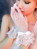رخيصةأون ملابس ليلية نسائية-شبكة طول المعصم قفاز قفازات مع ببيونات