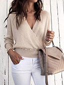 cheap Women's Sweaters-Women's Daily Basic Solid Colored Long Sleeve Loose Short Pullover, Deep V Fall & Winter Beige / Gray / Wine M / L / XL