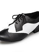 ieftine Print Dresses-Bărbați Pantofi Moderni Piele Adidași Despicare Grosime călcâială Pantofi de dans Negru / Alb