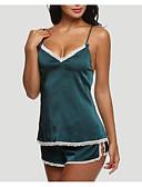 رخيصةأون -نسائي مثير ستيان متطابقة ملابس نوم قطن بدون ظهر, لون سادة