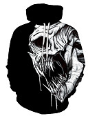 cheap Men's Hoodies & Sweatshirts-Men's Plus Size Sports Punk & Gothic / Exaggerated Long Sleeve Hoodie - Skull Hooded Black 4XL / Spring / Fall