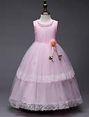 hesapli Çiçekçi Kız Elbiseleri-Prenses Taşlı Yaka Uzun (L) / Midi Organze / Tül / Saten Şifon Çiçek Yaprakları / İnci Detayları / Dalgalı ile Çiçekçi Kız Elbisesi tarafından LAN TING Express