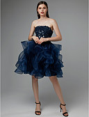 cheap Women's Dresses-A-Line Strapless Short / Mini Lace / Tulle Open Back Cocktail Party Dress with Appliques / Cascading Ruffles by TS Couture®