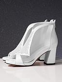 halpa Pusero-Naisten Comfort-kengät Nappanahka Kesä Sandaalit Paksu korko Valkoinen / Musta