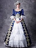 cheap Historical & Vintage Costumes-Victorian Duchess Rococo Baroque Victorian 18th Century Square Neck Costume Women's Dress Outfits Party Costume Masquerade Blue Vintage Cosplay Party Prom 3/4 Length Sleeve Puff / Balloon Sleeve