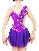 abordables Robe de Patinage-Robe de Patinage Artistique Femme Fille Patinage Robes Violet Spandex Fil élastique Haute élasticité Professionnel Compétition Tenue de Patinage Fait à la main Mode Manches Longues Patinage sur glace