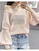 tanie Swetry damskie-Damskie Codzienny Moda miejska Solidne kolory Długi rękaw Luźna Regularny Pulower, W serek Zielony / Rumiany róż / Beżowy Jeden rozmiar