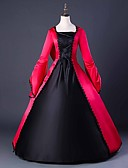 cheap Historical & Vintage Costumes-Capes Gothic Medieval Costume Women's Dress Party Costume Masquerade Ball Gown Red Vintage Cosplay Plain Sateen Long Sleeve Puff Balloon Floor Length Ball Gown