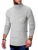 cheap Men's Tees & Tank Tops-Men's Daily Basic Solid Colored Long Sleeve Slim Regular Pullover, Turtleneck Fall / Winter Black / Navy Blue / Gray L / XL / XXL