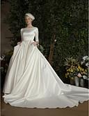 olcso Menyasszonyi ruhák-Báli ruha Aszimmetrikus Kápolna uszály Csipke / Szatén Made-to-measure esküvői ruhák val vel Csipke által LAN TING Express