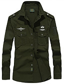 cheap Men's Shirts-Men's Military Plus Size Shirt - Solid Colored / Long Sleeve