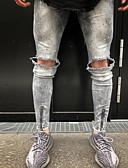 baratos Pólos Masculinas-Homens Básico Algodão Jeans Calças - Sólido Cinzento / Primavera / Outono