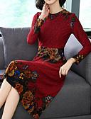 cheap Print Dresses-Women's Daily Basic Sheath Dress - Floral Crew Neck Blue Red XL XXL XXXL