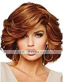 olcso Divatos övek-Emberi hajszelet nélküli parókák Emberi haj Göndör Oldalsó rész Közepes Géppel készített Paróka Női