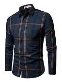 cheap Men's Shirts-men's shirt - plaid / houndstooth shirt collar