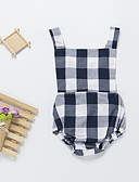Χαμηλού Κόστους Φορέματα για κορίτσια-Μωρό Κοριτσίστικα Ενεργό / Μπόχο Καθημερινά / Παραλία Τετράγωνο Καρό Εξώπλατο / Κορδόνι Αμάνικο Βαμβάκι Ολόσωμη Φόρμα & Φόρμες Βαθυγάλαζο / Νήπιο