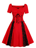 cheap Plus Size Dresses-Women's Plus Size Daily Elegant A Line Dress V Neck Red XXL XXXL 4XL