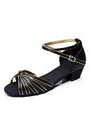 abordables Sombreros de mujer-Mujer Zapatos de Baile Latino / Salón Satén / Semicuero Tacones Alto Tacón Cuadrado No Personalizables Zapatos de baile Negro y oro