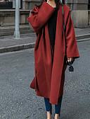 tanie Swetry damskie-Damskie Codzienny Aktywny Długie Płaszcz, Kreatywne Kaptur Długi rękaw Poliester Czerwony S / M / L / Luźna