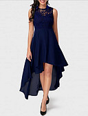 cheap Romantic Lace Dresses-Women's Plus Size Party / Going out Elegant Asymmetrical Swing Dress - Solid Colored Lace Navy Blue Red Blue XL XXL XXXL