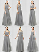 cheap Bridesmaid Dresses-A-Line / Ball Gown V Neck Floor Length Tulle Bridesmaid Dress with Bow(s) / Sash / Ribbon / Ruched by LAN TING BRIDE® / Convertible Dress