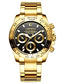 cheap Bikinis-Men's Wrist Watch Japanese Quartz Stainless Steel Gold 30 m Water Resistant / Waterproof Chronograph Casual Watch Analog Bangle Fashion - Black Green Blue Two Years Battery Life / Large Dial