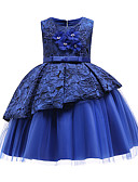 זול שמלות לילדות פרחים-נסיכה באורך  הברך שמלה לנערת הפרחים  - כותנה / סאטן / טול ללא שרוולים עם תכשיטים עם אפליקציות / פפיון(ים) / תחרה על ידי LAN TING Express