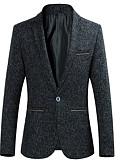 cheap Men's Blazers & Suits-Men's Daily Business Fall Plus Size Regular Blazer, Solid Colored Shirt Collar Long Sleeve Polyester Blue / Black / Yellow 4XL / XXXXXL / XXXXXXL / Business Casual / Slim