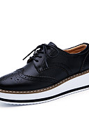 cheap Women's Coats & Trench Coats-Women's Leather Spring & Summer Casual Oxfords Flat Heel Round Toe Black / Red