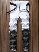abordables Pantalones y Shorts de Hombre-Hombre Algodón Vaqueros Pantalones - Bloques Blanco