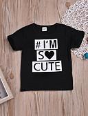 tanie Topy Chłopięce dla niemowląt-Dziecko Dla chłopców Podstawowy / Punk i gotyk Codzienny / Święto Nadruk Krótki rękaw Regularny Bawełna / Spandeks T-shirt Czarny / Brzdąc