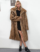 cheap Women's Fur & Faux Fur Coats-Women's Daily / Going out / Work Vintage / Active Fall / Winter Maxi Fur Coat, Solid Colored Peaked Lapel Long Sleeve Faux Fur / Polyester Brown / White XL / XXL / XXXL