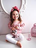 billige Sett med pikeklær-Baby Jente Aktiv Daglig Sommerfugl Ensfarget Sløyfe Langermet Normal Normal Bomull / Polyester Tøysett Rosa
