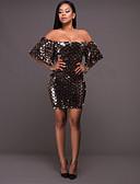 זול שמלות NYE-בגדי ריקוד נשים אלגנטית סקיני מכנסיים חום / סירה מתחת לכתפיים / מועדונים / סקסית
