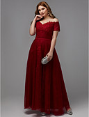 cheap Evening Dresses-A-Line Off Shoulder Floor Length Lace / Tulle Formal Evening Dress with Beading / Appliques / Sash / Ribbon by TS Couture® / Prom