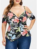 halpa T-paita-Naisten Syvä V Geometrinen Pluskoko - T-paita Sateenkaari XXXL